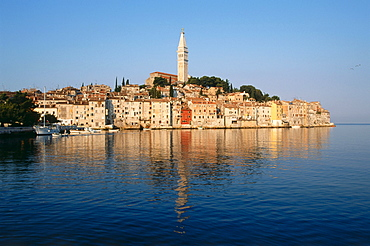 View towards the old town of Rovinj, Istria, Croatia