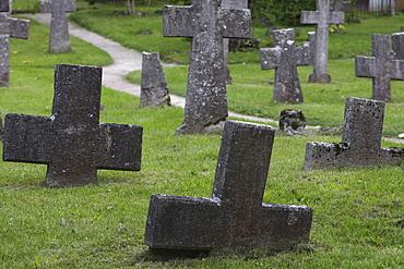 Sunken crosses on the graveyard at the ruins of St. Brigit convent, Pirita, Tallinn, Estonia
