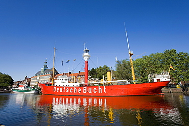 Lightship, Townhall, Emden, East Frisia, North Sea, Lower Saxony, Germany