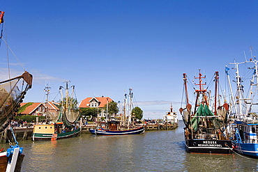 Harbour, Neuharlingersiel, East Frisia, North Sea, Lower Saxony, Germany