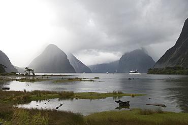 Mist-Covered Mitre Peak, Milford Sound, Fiordland National Park, South Island, New Zealand