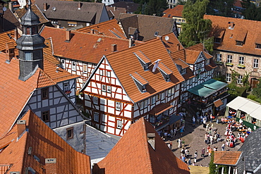 Timberframe Houses and Marktplatz Central Square, View from Schlitz Tower, Schlitz, Vogelsberg, Hesse, Germany
