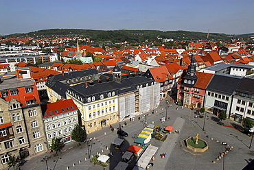 Aerial view from church over market place, Eisenach, Thuringia, Germany