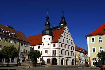 View of the city hall, town hall in Hildburghausen, Thuringia, Germany