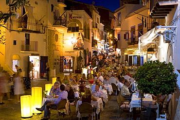 Restaurants in Dalt Vila at night, Old Town, Eivissa, Ibiza, Balearic Islands, Spain