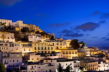 Dalt Vila at night, Old Town, Eivissa, Ibiza, Balearic Islands, Spain