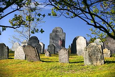 Gravestones in Concord Cemetery, Concord, Massachusetts, USA