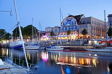 Harbour at night, Rostock-Warnemuende, Baltic Sea, Mecklenburg-Western Pomerania, Germany
