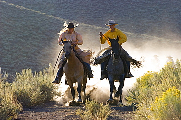 cowgirl and cowboy riding, Oregon, USA