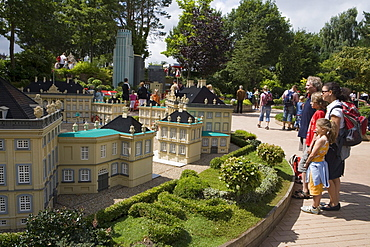 Family Admiring Lego Amalienborg Slot Castle, Lego Miniland, Legoland, Billund, Central Jutland, Denmark