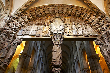 Sculptures by Meister Mateo, El Portico de la Gloria, westside of the Cathedral, Catedral de Santiago de Compostela, Santiago de Compostela, Galicia, Spain