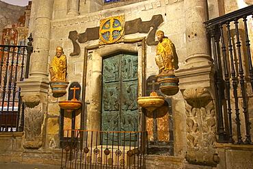 Inside Puerta Santa, Puerta del Perdon, of cathedral, Catedral de Santiago de Compostela, Santiago de Compostela, Galicia, Spain