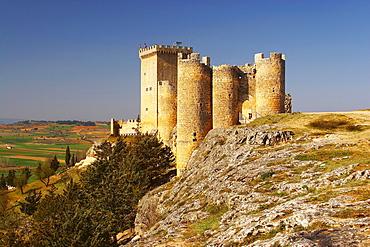 Penaranda de Duero caastle with view into the landscape, Castilla Leon, Spain
