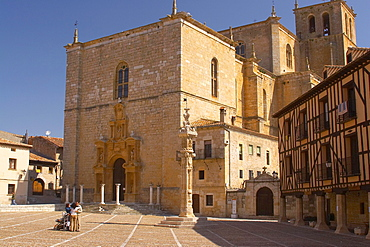 The city of Penaranda de Duero with church, Castilla Leon, Spain