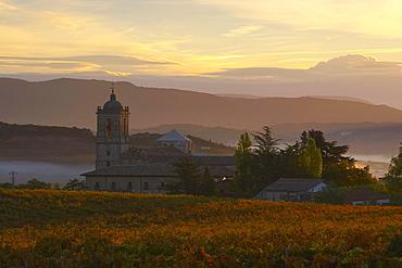 Old Benedictine monastery at sunrise, Santa MarÃŒa la Real de Irache, Camino de Santiago, Navarra, Spain