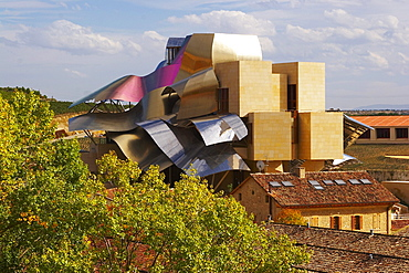 Hotel from architect Frank Gehry and Bodegas MarquÈs de Riscal, oldest winery of Rioja, Elciego, Euskadi, PaÌs Vasco, Spain
