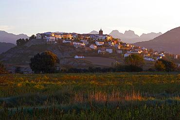 Sunrise in the Pyrenees, mountain village of Berdun, Aragon, Spain, Europe
