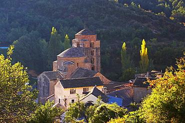 Early summer morning at a former Benedictine monastery with church, Santa MarÌa, Santa Cruz de la SerÛs, Huesca, Aragon, Spain