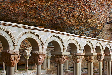 Wall set in rock, former monastery, cloister from the 9th century, San Juan de la Pena, Huesca, Aragon, Spain