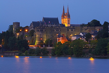 Angers Castle in the early evening and river, La Maine, Angers, Department Maine et Loire, France, Europe
