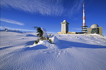 Brocken mountain, summit, Harz Mountains, Lower Saxony, northern Germany, steam engine, winter, Brockenbahn
