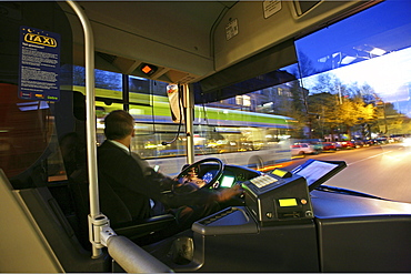 Silberpfeil bus, view from bus driver's cabin, public transport, Hanover, Lower Saxony, Germany, MR