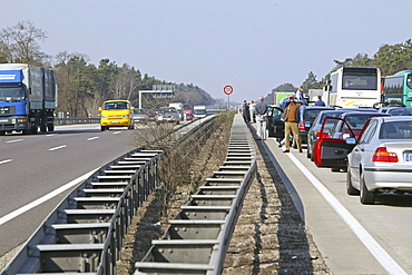 traffic at a standstill on the German Autobahn, standstill