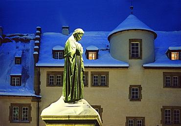 Schiller statue in snow, Schillerplatz, Stuttgart, Baden Wuerttemberg, Germany, Europe