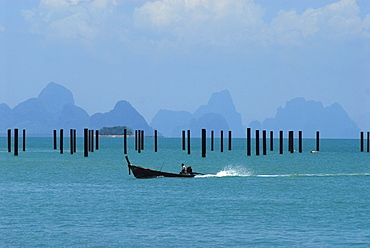 View from Ao Po over the bay of Phang Nga with stilts for the new marina, Phuket, Thailand