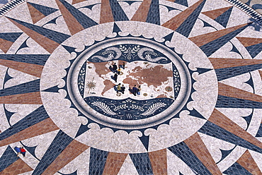 Padrao dos Descobrimentos, Memorial of Discoveries, mosaic decoration showing a world map and a wind rose, Belem, Lisbon, Portugal