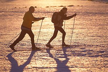 Two men cross country skiing over the Plateau, Filipova Hut, Sumava, Bohemian Forest, Czech Republik