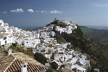 White village Casares on a mountain peak of Sierra Bermeja, Malaga province, Andalusia. Spain