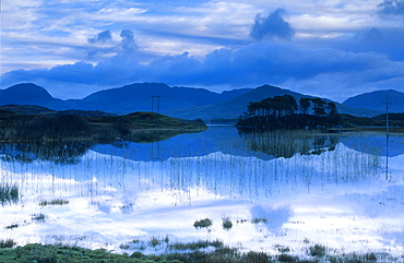 Ballynahinch Lake and reflection, Connemara, Co. Galway, Ireland, Europe