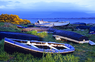 Boats in Dogs Bay, Connemara, Co. Galway, Ireland, Europe