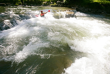 Man, participant on the Mangfall river, kayak weekend for beginners on the Mangfall river, Upper Bavaria, Germany