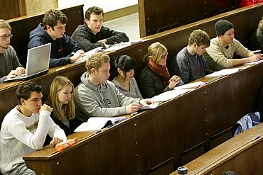 Lecture in the auditorium Maximum, LMU, University, Ludwig Maximilians Universitaet, Munich, Bavaria, Germany
