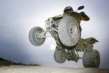 Suzuki Quad jumping through the air, Test Grounds, Suzuki Offroad Camp, Valencia, Spain