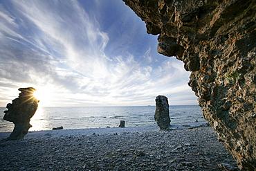 Raukar natural stone towers, Langhammar, Faro, Gotland, Sweden
