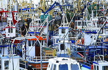 View at many fishing boats at Greencastle harbour, County Donegal, Ireland, Europe