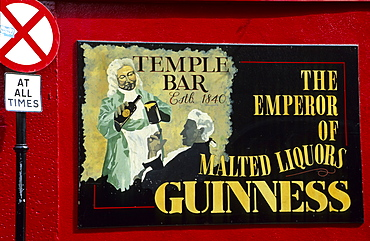 Sign of the famous Temple Bar at Crown Alley, Temple Bar District, Dublin, Ireland, Europe
