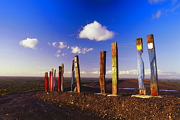 Totems from Agustin Ibarrola, Symbol for industry and nature, Halde Haniel, Bottrop, Ruhr Valley, Ruhr, Northrhine Westphalia, Germany