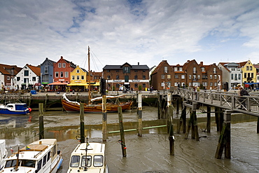 Harbour in Husum under clouded sky, Northern Frisia, Schleswig-Holstein, Germany, Europe
