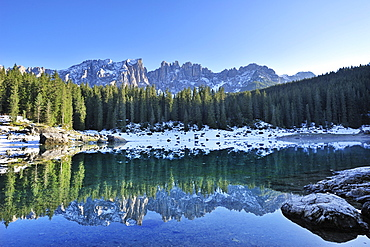 Lake Karersee with Latemar mountain range in the background, Dolomites, UNESCO World Heritage Site, South Tyrol, Italy