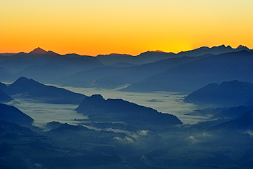 View to Walchsee valley, Chiemgau Alps and Berchtesgaden Alps from Brunnstein, Bruennstein, Bavarian Alps, Upper Bavaria, Bavaria, Germany