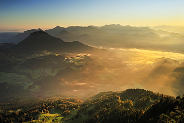Fog in the Inn valley with view towards Chiemgau Alps, Brunnstein, Bavarian Prealps, Upper Bavaria, Bavaria, Germany
