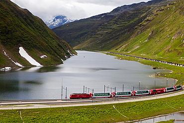 Glacier Express at Oberalppass, Oberalp, Canton of Uri and Graubuenden, Switzerland