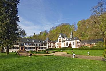 Schloss Dagstuhl castle in spring, Wadern-Dagstuhl, Hochwald, Loestertal, Saarland, Germany, Europe