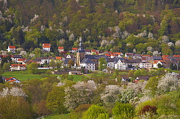 View of Benedictine abbey and church St. Mauritius at Tholey, Saarland, Germany, Europe