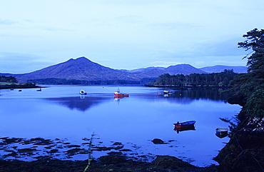 Fishing boats off shore in the evening, Ring of Beara, Beara peninsula, County Kerry, Ireland, Europe