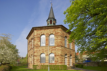 View of protestant church at Bischmisheim, Saarland, Germany, Europe